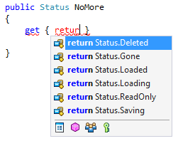 Enum members in return completion