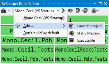 ReSharper Build tool window showing run configurations menu