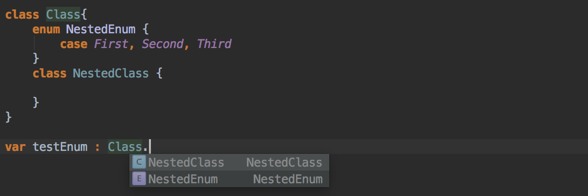 Nested type completion