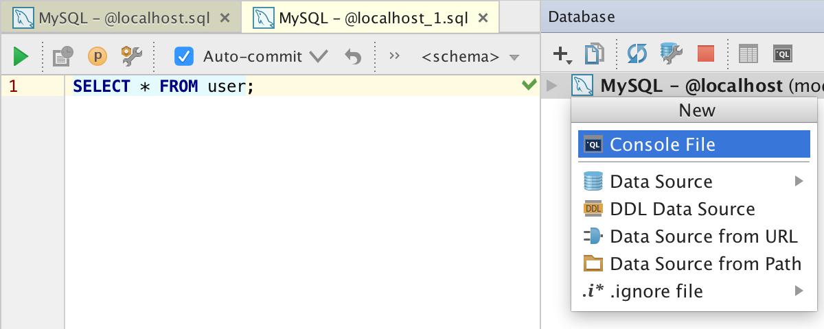 New Database Console