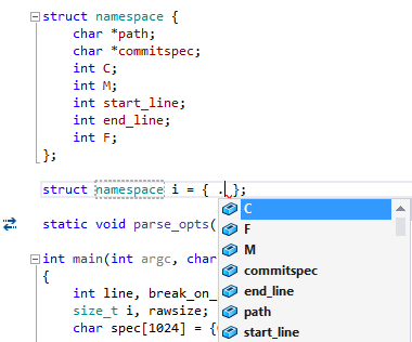 Code completion for C in ReSharper C++