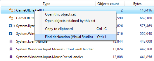 dotMemory 10 Find declaration in VS action