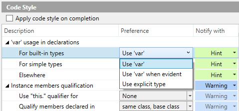 ReSharper code style settings