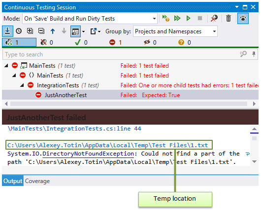 Failed test in a continuous testing session