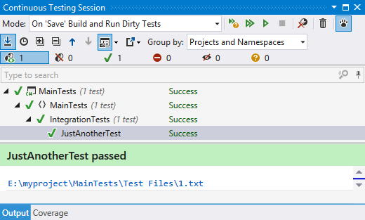 Successful test in a continuous testing session