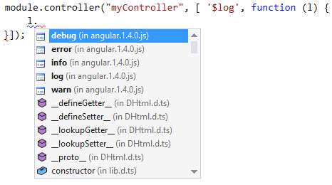 AngularJS intellisense for injected parameters