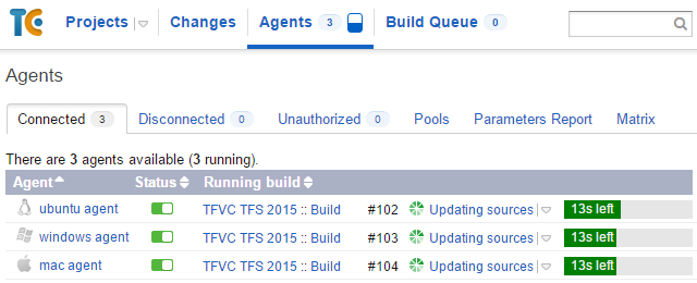 Executing build configuration on the different platforms