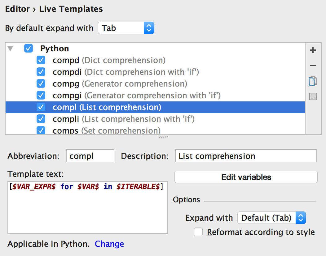 Find Usages in Python code. Live Templates for generating widely-used ...