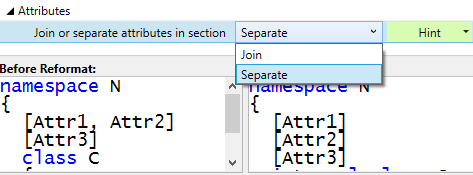 Code style attribute placement