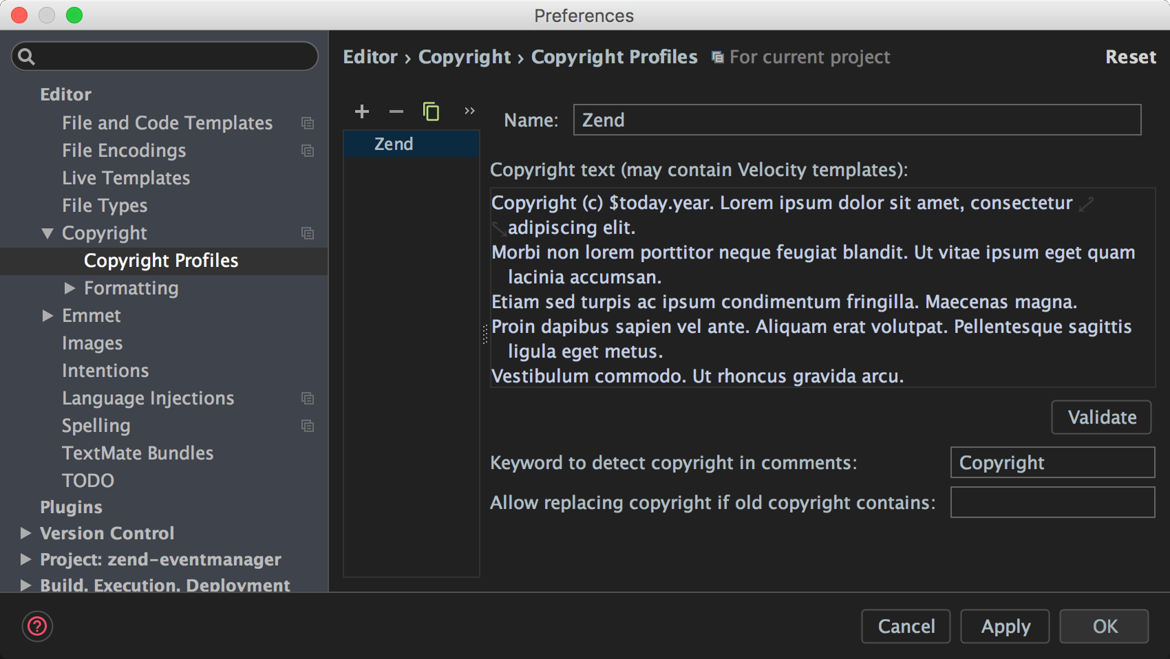 copyright profile before