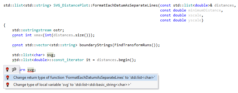 Quick-fix to change function return type in C++