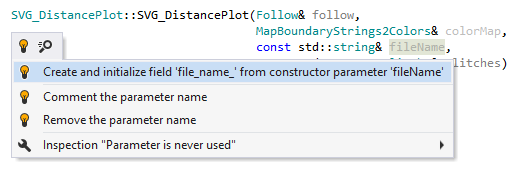 Quick-fix to create and initialize field from constructor parameter in C++