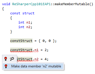 Quick-fix to make data member mutable in C++