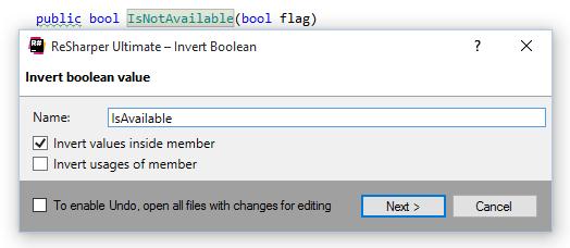 Invert Boolean refactoring