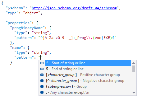 Regexp completion in JSON schema