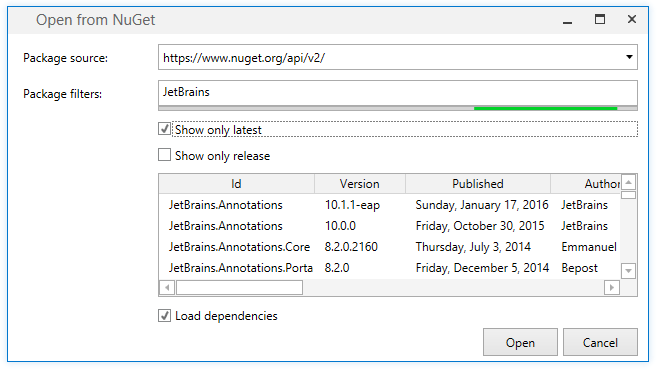 dotPeek: Loading assemblies from NuGet packages
