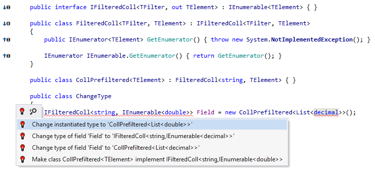 Cleaner highlighting and new quick-fixes when types mismatch