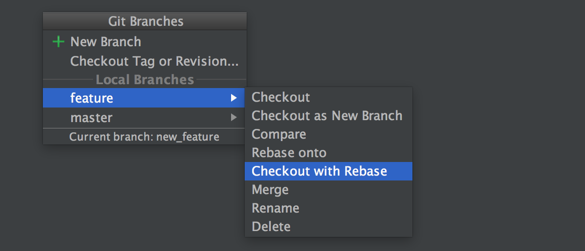 Checkout with rebase