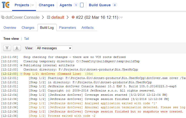 dotCover errors in TeamCity log