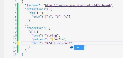 Code completion for known JSON schemas