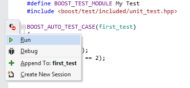 Boost.Test support in ReSharper C++