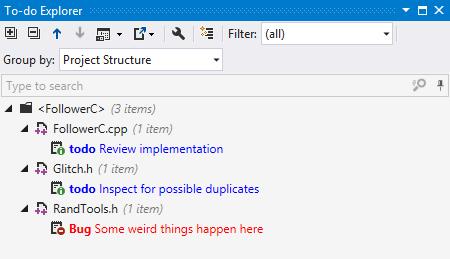 To-do explorer in ReSharper C++ 2016.1