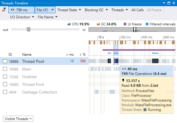 Threads diagram in Visual Studio with smart tooltips