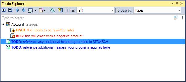 ReSharper C++ Todo Explorer