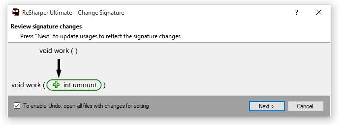 ReSharper C++ Change Signature Refactoring