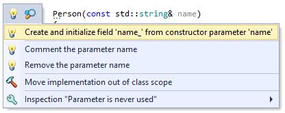 ReSharper C++ Create and Initialize Field