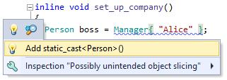 ReSharper C++ Possible Unintended object slicing
