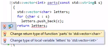 ReSharper C++ Incorrect Return Type Quick-Fix