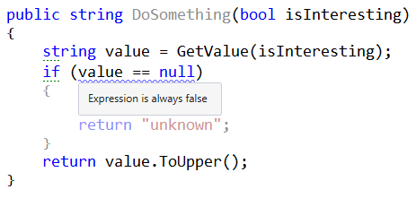 ReSharper marking null analysis as redundant