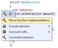 ReSharper C++ Move Function Implementations