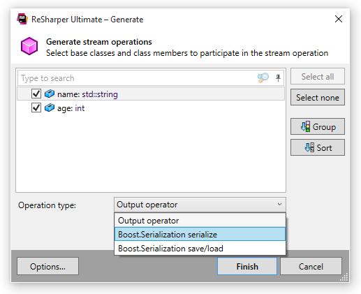 ReSharper C++ Stream Output Private Boost.Serialize Operations