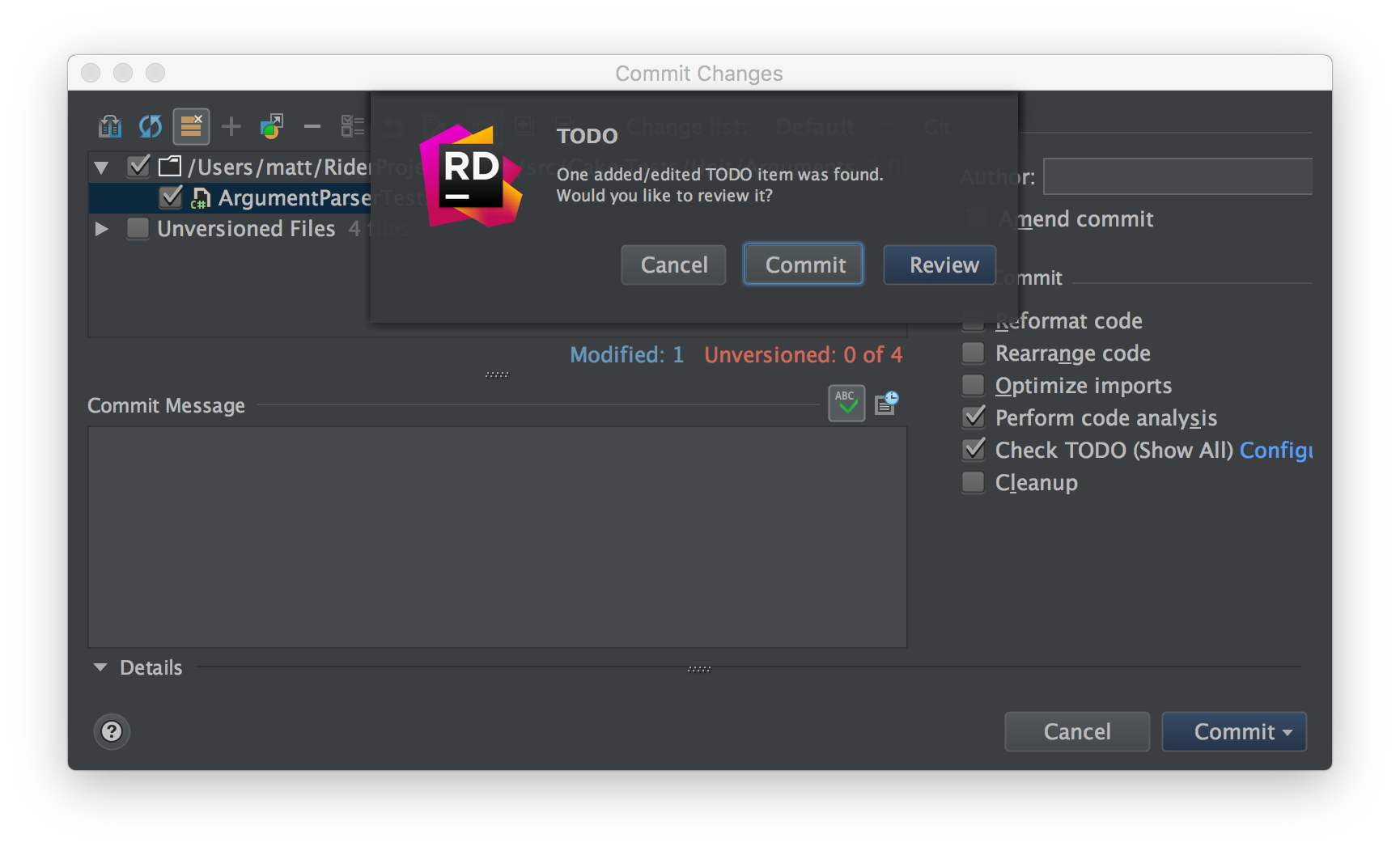 Commit dialog checking for TODO items