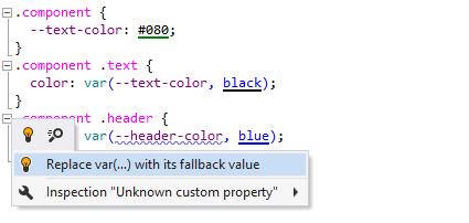 ReSharper supports custom properties and CSS variables.