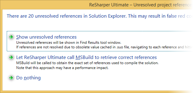 ReSharper helps fixing unresolved references