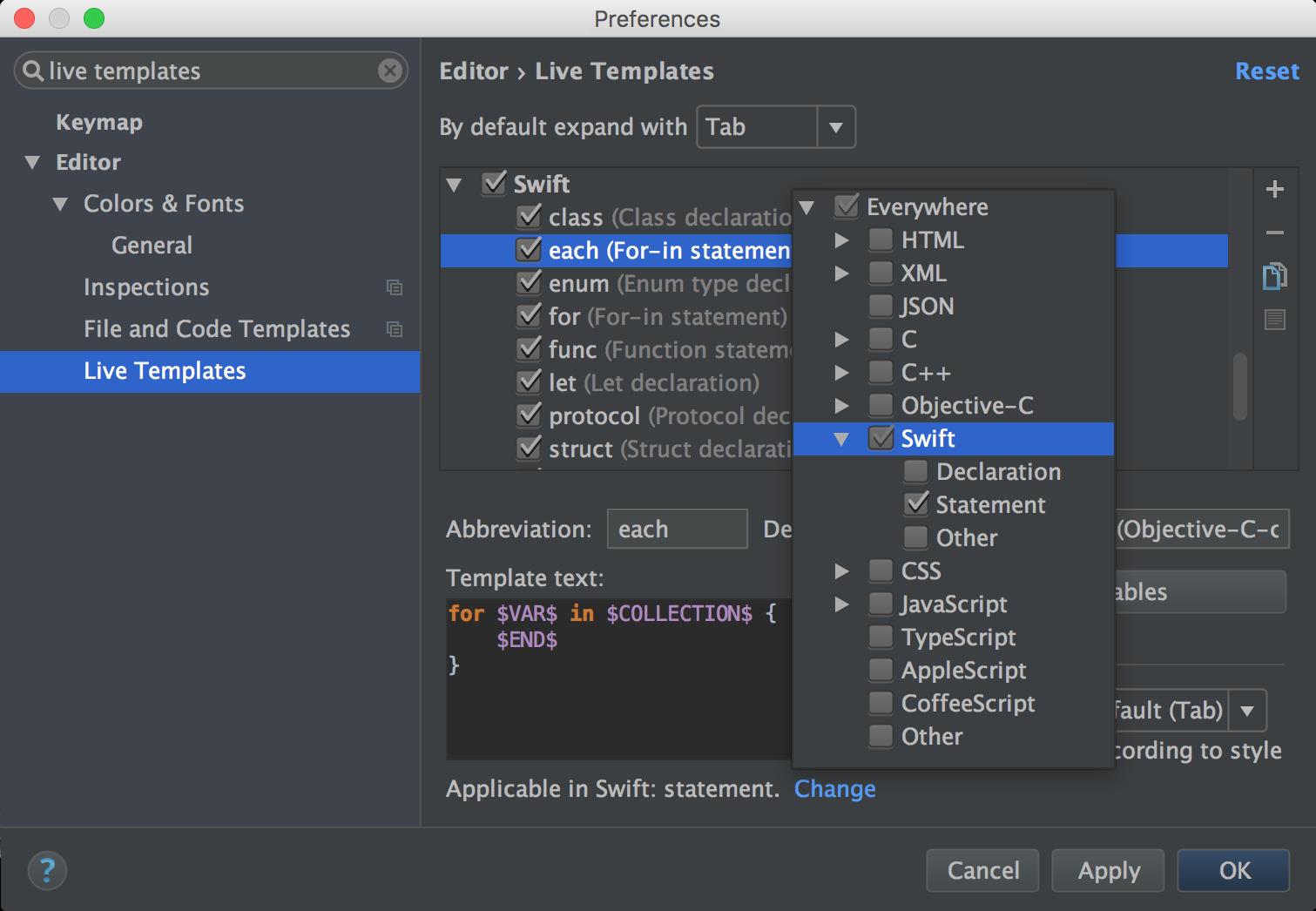 Live templates context