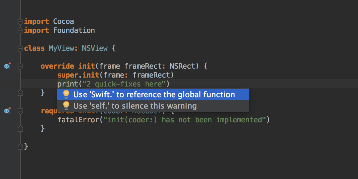 Multiple Swift quick-fixes