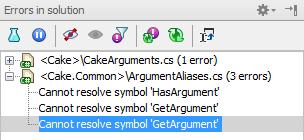 Errors in solution tool window