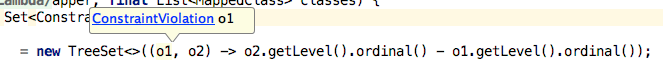 See the parameter types of the lambda
