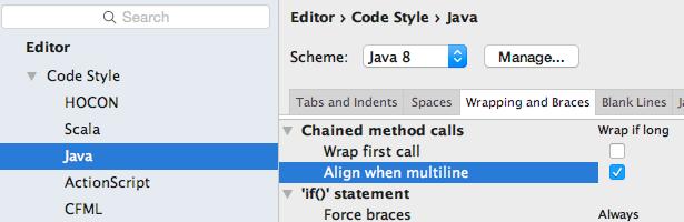 Formatting Stream method chaining