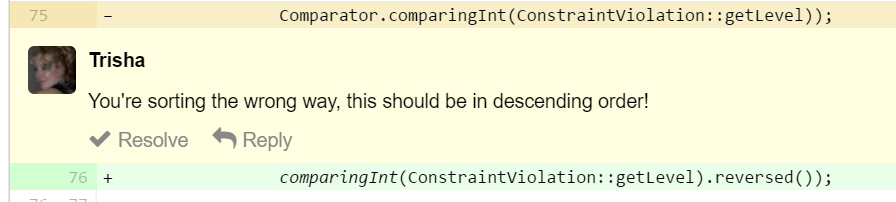 Reversing the order of a comparison