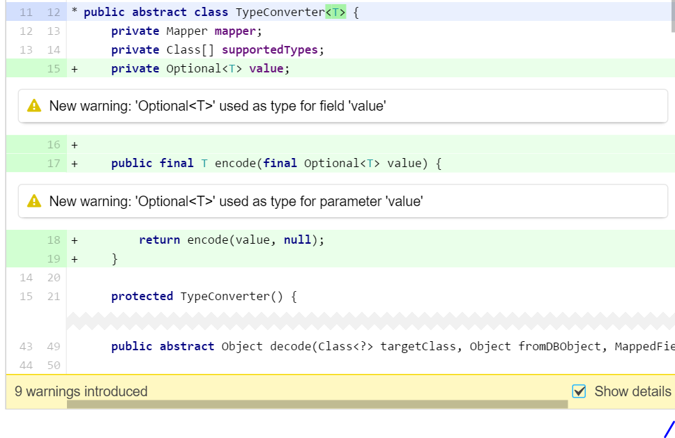 Don't use Optional for parameters or fields