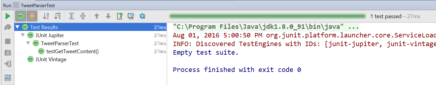JUnit 5 test results