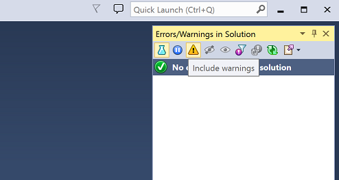 Enabling warnings via Errors/Warnings in Solution tool window
