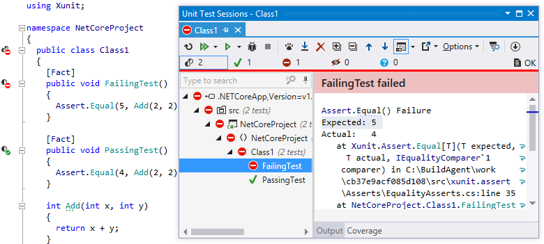 Unit testing feature in .NET Core