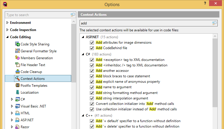 Unified settings of context actions