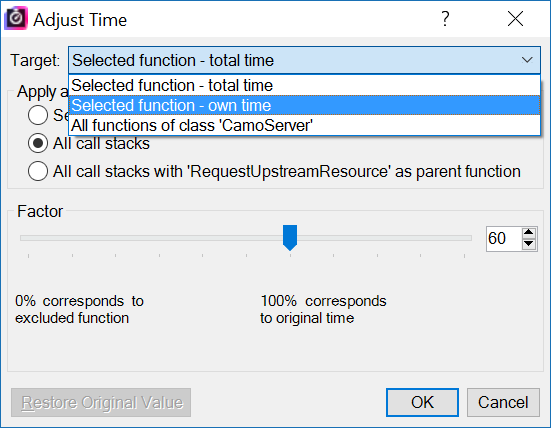 Adjust time for selected function
